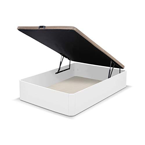duehome Canapé sommier pliant Canapé Chambre à coucher, sommier tapissier en tissu 3D, Beige, Couleur du lit Blanc, Modèle de luxe, Dimensions : 90 x 190 cm de long, MDF