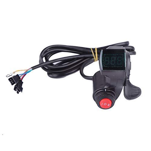 VGEBY1 Accélérateur de pouce, Accélérateur de pouce de vélo électrique avec interrupteur à 3 vitesses avec affichage numérique de la tension de la batterie.