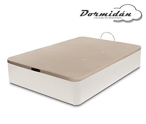 Dormidane - Canapé pliant de grande capacité avec coins en bois rond, base respirante 3D rembourrée + 4 valves d'aération 135x190cm couleur blanche