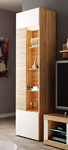 Miroytengo Vitrina Alta Ada salon Salle à manger Couleur Noyer et blanc Style moderne 52x34x187 cm