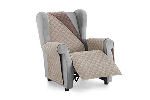 Textilhome - Housse de canapé Malu -1 Plaza - Relax - Protecteur pour canapés matelassés réversibles. Couleur Beige C/7