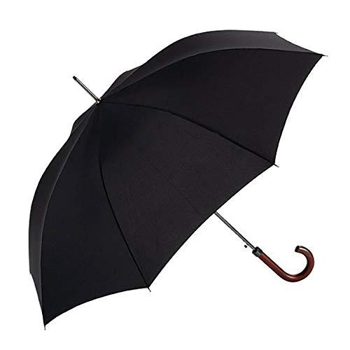 Parapluie EZPELETA Hommes Long Parapluie. Coupe-vent, automatique et avec manchette en bois. Tissu lisse noir - noir.