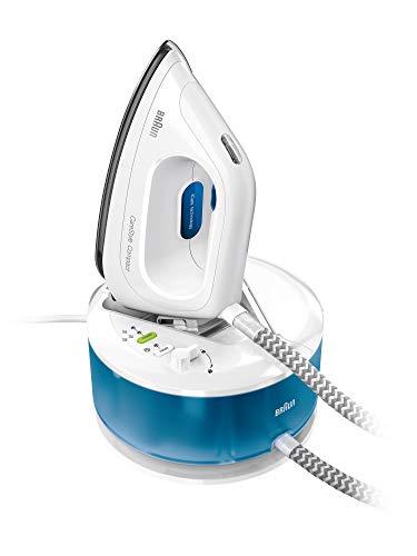 Braun CareStyle Compact IS2043 - Centre de repassage, semelle Eloxal Plus 3D, puissance 2200 W, réservoir de 1,3 L, vapeur constante 110 g/min, pression 5 bar et course vapeur 300 g/min, blanc/bleu
