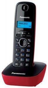 Panasonic KX-TG1611SPR - Téléphone fixe sans fil, noir/rouge