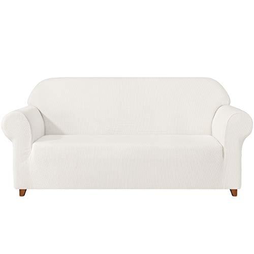 subrtex Housse de canapé 1 pièce Housse de canapé en polyester élastique Housse de canapé doublée en polyester pour la maison (4 places, blanc)