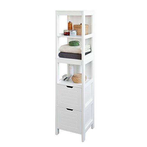 SoBuy Colonne de baignoire, Armoire de salle de bains - 3 étagères et 2 tiroirs, FRG126-W, FR