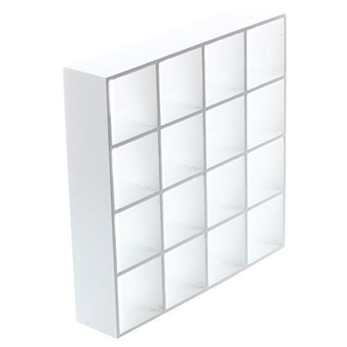 SODIAL (R) 1/12 maison de poupée miniature modèle 4 couches, étagère de présentation en bois blanc
