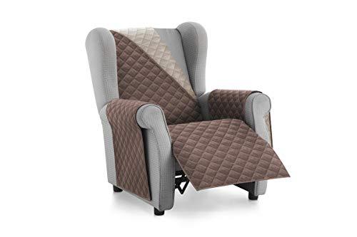 Textilhome - Housse de canapé Malu -1 Plaza - Relax - Protecteur pour canapés matelassés réversibles. Couleur Brun C/2