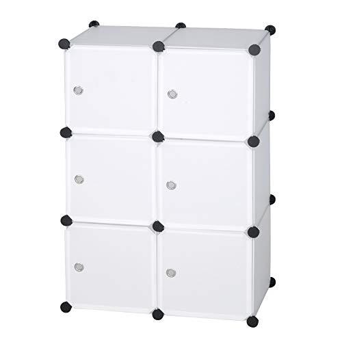 Etagère de rangement modulaire Woltu par modules de bricolage, armoire à 6 portes de seau, pour vêtements, jouets, chaussures 96x30x96cm blanc SR0056ws