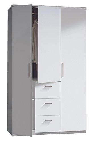 Habitdesign WRD353BO - Armoire à trois portes et trois tiroirs, finition blanc vif, dimensions : 117x203x52 cm profondeur
