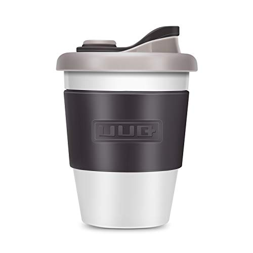 Mug UUQ Tasse à café réutilisable, Tasse à café, Tasse à café à emporter, Tasse à café 12 oz avec manche antidérapante, lavable au lave-vaisselle et au micro-ondes, 340ml (Gris)