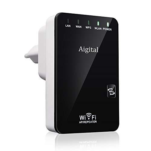 Aigital WiFi Repeater, 300Mbps Routeur sans fil WiFi Routeur sans fil WiFi Network Extender Ap Amplificateur amplificateur sans fil Repeater Booster Wireless-N 2.4GHz Universal EU Plug (WPS)