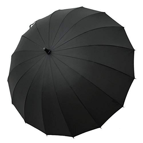 Parapluie Saiveina Hommes Grand Classique coupe-vent, 16 baguettes, Teflon T190, manche en mousse, très résistant-Noir