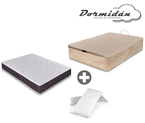Dormidane - Pack canapé pliant grande capacité + matelas viscoélastique + oreiller viscoélastique Gift Flakes (135_x_190_cm, Chêne)