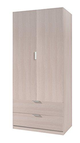 Habitdesign 00X222R - Armoire à 2 portes, Armoire à 2 tiroirs, couleur chêne, dimensions : 81 x 180 x 52 cm