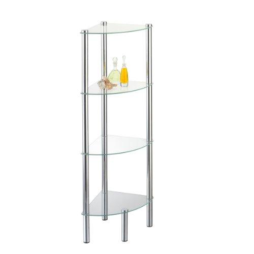 Axxentia Bad 282134 Solanio - Meuble d'angle avec 4 étagères en métal et verre (30 x 30 x 108 x 108 cm) (Importé d'Allemagne)