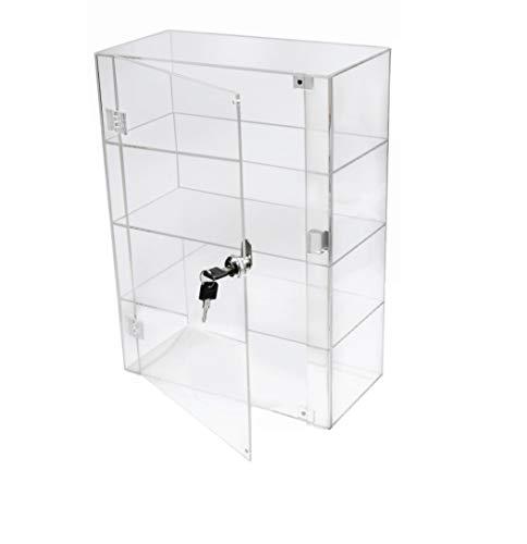 PC3721 1 Vitrine de 3 étagères en acrylique transparent haute luminosité avec porte avant et serrure de sécurité DB088A-06IN