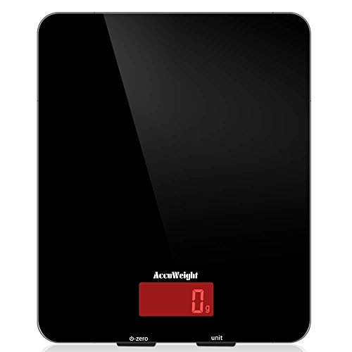 Balance de cuisine numérique ACCUWEIGHT, design en verre trempé, facile à nettoyer, balance alimentaire de haute précision avec rétroéclairage pour poids de cuisine, 5kg/11lb