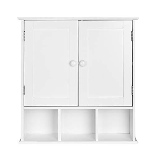 Homfa Armoire murale Armoire de cuisine Salle de bains avec 2 portes 5 compartiments Blanc 56x13x58cm