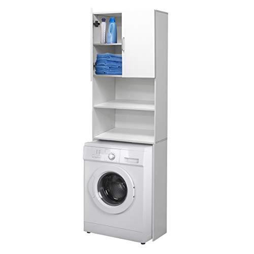 ECD Allemagne Meuble lave-linge - Blanc - 64 x 26 x 190 cm - Meuble de salle de bain pour lave-linge et sèche-linge WC - Rack pour lave-linge - Colonne sur lave-linge