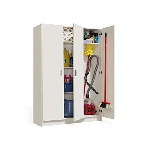 Habitdesign 007143O - Armoire polyvalente trois portes, couleur blanc, dimensions 180 x 109 x 37cm