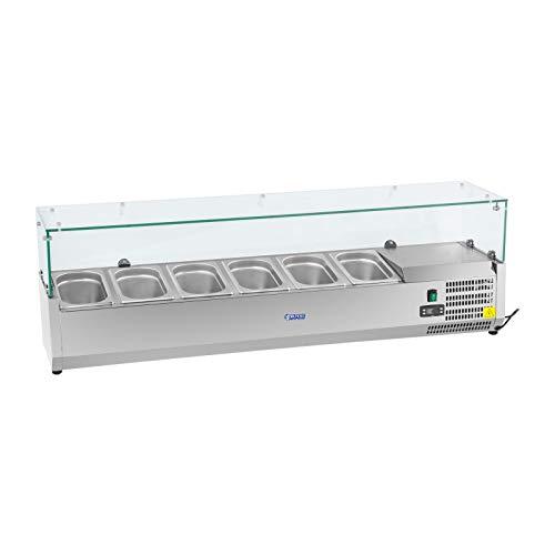Royal Catering Vitrine réfrigérée RCKV-140/33-O (180 W, capacité 40 L, 0-10 °C, couvercle en verre, 140,5 x 33,5 x 46 cm, pour 6 récipients GN 1/4, acier inoxydable)