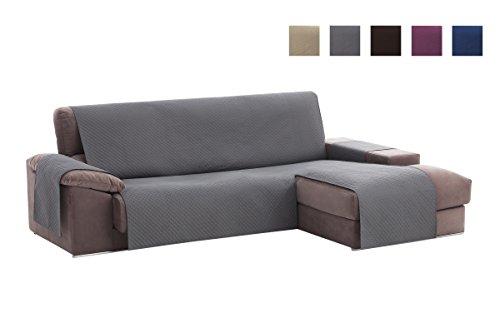Housse de couverture de canapé textil-home Chaise Longue Adele, Protecteur de canapé accoudoir droit rembourré. Taille -240cm. Couleur Gris (Vue de face)