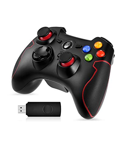 EasySMX Gamepad pour PC, (cadeaux) PS3 Gamepad sans fil compatible avec Windows XP et Vista, Windows 8, PS3, Android et la portée jusqu'à 10M (rouge)