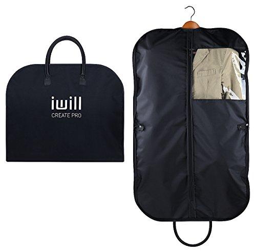 i will CREATE PRO 100cm Travel Suit Sac de transport, Manteaux Housse de protection pour vêtements de voyage, Sac à vêtements de voyage avec poignées et fenêtre transparente, Noir