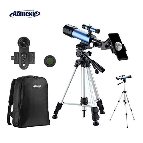 Aomekie Télescope Astronomique Télescopique pour Enfants avec Adaptateur Téléphone Sac à dos 10X Trépied Réglable Filtre de Lune et Objectif Barlow 3X
