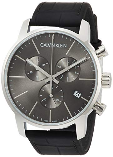 Calvin Klein Klein Montre chronographe à quartz pour homme avec bracelet cuir - K2G271C3