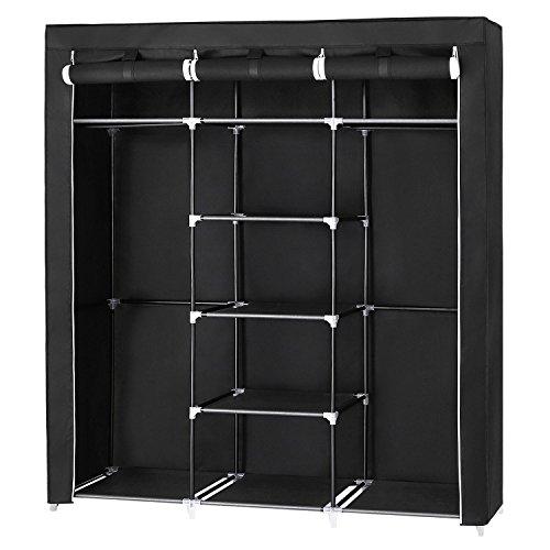 SONGMICS Closet Organizer Placard pliable en textile couleur noir 175 x 150 x 45 cm RYG12B