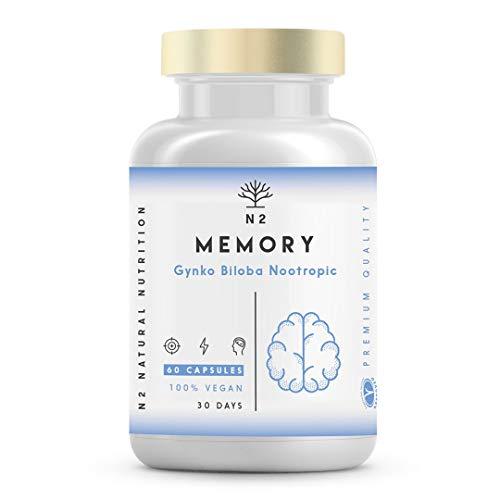 Nootrope, Caféine, Bacopa, Ginko Biloba, Vitamine B6, B12. Amélioration de la mémoire, concentration. Réduit le stress, la fatigue mentale, la fatigue. Adaptogène, antioxydant. Végétalien, 60 gélules. N2 Nutrition naturelle