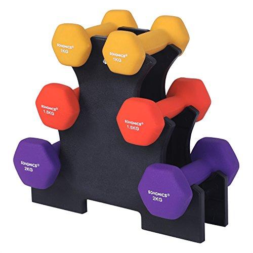 SONGMICS Ensemble de 2 haltères pour dames Poids d'haltères pour la gymnastique Vinyle en différents modèles de poids et couleurs syl69bk, à 1.0 1.5 1.5 2 x 2.0 kg, 32 x 15 cm