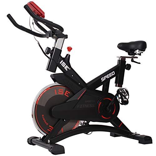 Bicyclette d'exercice ISE, Inertie du volant de 10 kg, affichage LCD, mesure du pouls, économie d'espace avec roues de transport et support et tablettes, silencieux, poids maximum 120 kg, SY-7005-1