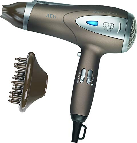 AEG HTD 5584 - Sèche-cheveux ionique professionnel avec diffuseur, 3 niveaux de température, 2 vitesses, 2200 W, couleur marron