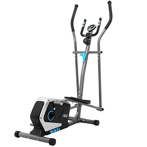 ISE Professional Home Fitness Vélo elliptique avec capteur de pouls, 8 niveaux de résistance, écran LCD, appareil de gymnastique elliptique réglable avec volant 8KG, SY-980101