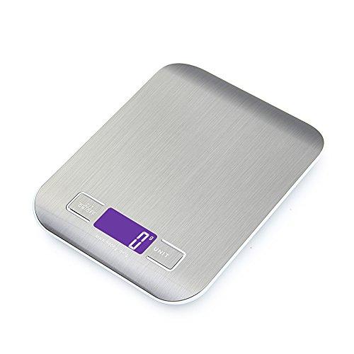 Balance LCD numérique intelligente GPISEN pour cuisine en acier inoxydable, 5kg/1lbs, balance multifonctionnelle, couleur argent, (2 piles incluses)