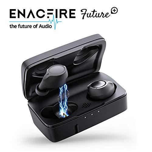 Casque d'écoute Bluetooth, ENACFIRE Future Plus Future Plus Casque d'écoute stéréo miniature sans fil Bluetooth 5.0 sport intra-auriculaire avec boîtier de charge portable 2600 mAh ET microphone intégré 104h reproducción,IPX5 reproducción,IPX5
