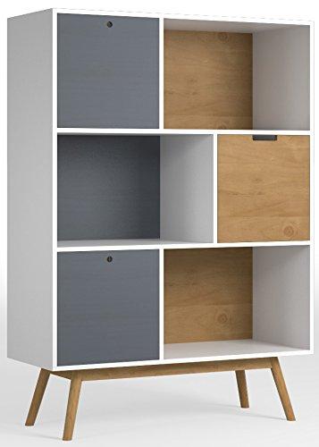 Etagère/Bibliothèque Leti White, Pin massif, 3 portes, hauteur 141 cm