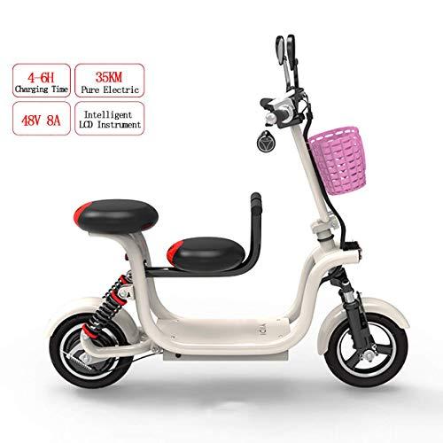 WYD Electric Folding Bike, VTT double pour adultes, avec pneu 10 pouces et une chaise enfant de 400 watts et 48 watts High Power Maximum Speed 37 km/h,Blanc