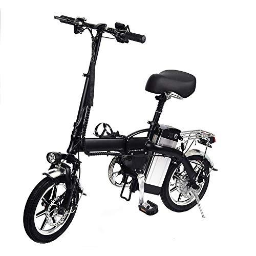 Adminitto88 Mini électrique pliant léger électrique Vélo électrique Vélo électrique avec petite batterie, vélo double, pédales, suspension complète et la norme européenne 48V / 10AH Freins à disque Freins