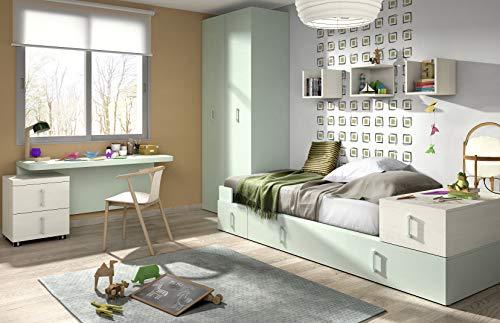 ambiato Vita 04 - Armoire murale pour chambre d'enfant, dans des coloris uniques, Choose, Bureau enfant, Lit avec lit d'appoint