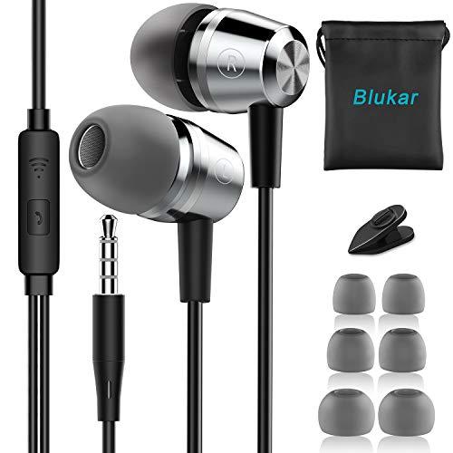 Casque d'écoute, casque d'écoute Blukar et casque d'écoute Blukar et microphone d'écouteur câble Son stéréo pour Samsung Galaxy, Huawei, XiaoMi, PC, MP3/MP4 Android et tous les périphériques de casque 3,5mm
