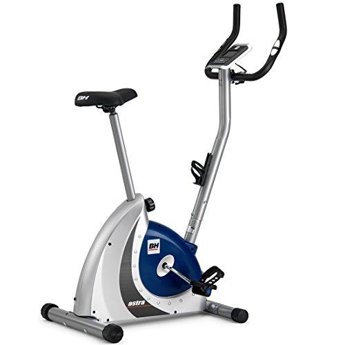 BH Fitness Astra Programme H286FD Bicyclette d'exercice - 8 programmes préétablis - 14 niveaux - Argent et bleu