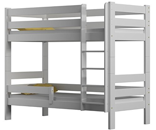 Sophie lit double superposé avec cadre en pin (180 x 80 cm), bois, blanc, 180x80
