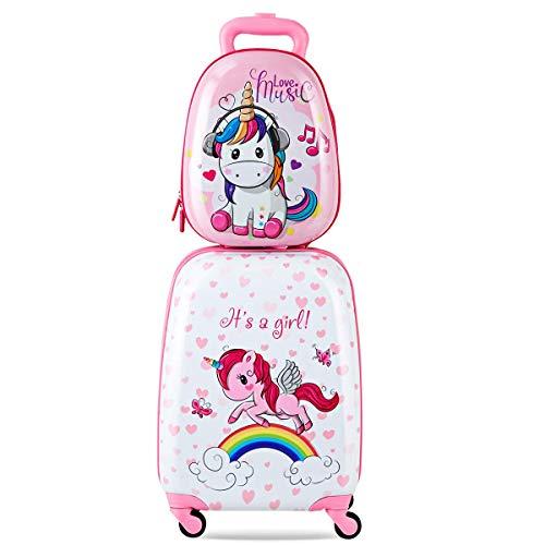 COSTWAY Chariot à bagages Ensemble cabine enfant et valise avec 4 roues pivotantes 360° et sac à dos (motif licorne)