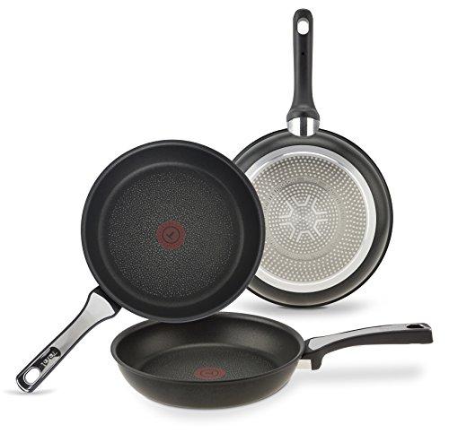 Tefal Expertise Set de 3 poêles à frire en aluminium de 21 24 et 26 cm, revêtement anti-adhésif en titane extra titane, convient pour toutes les cuisines, base optimale pour induction, noir
