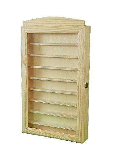 Vitrine pour collections. En bois de pin brut. Tu peux le peindre. Dimensions (largeur/bas/hauteur) : 30 * 6.5 * 54 cm.