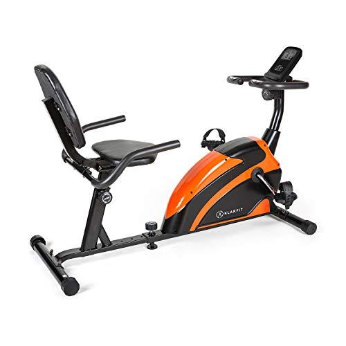 Klarfit Relaxbike 6.0 SE Vélo couché - Vélo stationnaire - Volant d'inertie 12 kg - Résistance magnétique 8 niveaux - Porte-tablettes - Silencieux - jusqu'à 100 kg - Orange